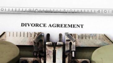 divorce agreement on a typewriter