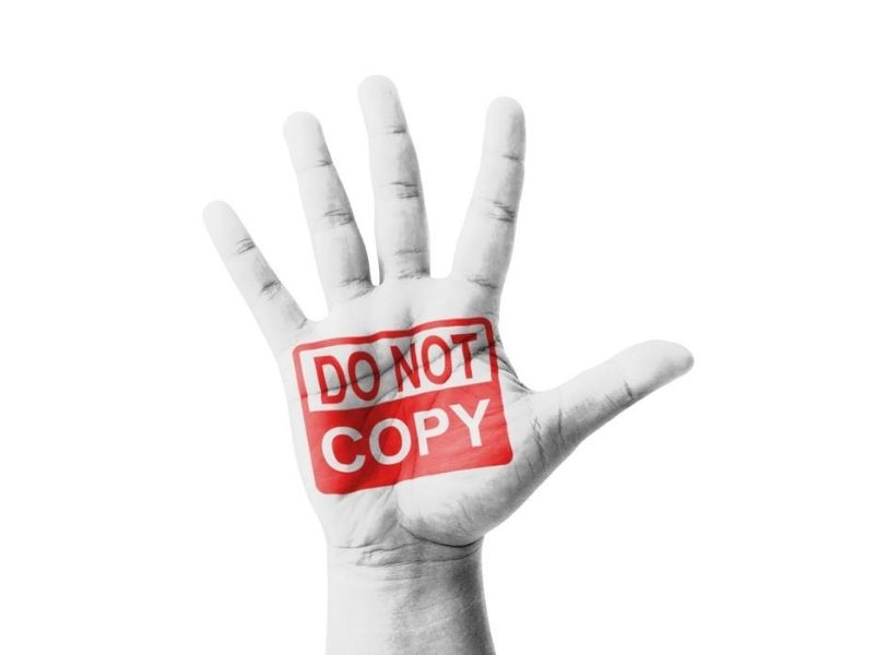 open palm with do not copy mark